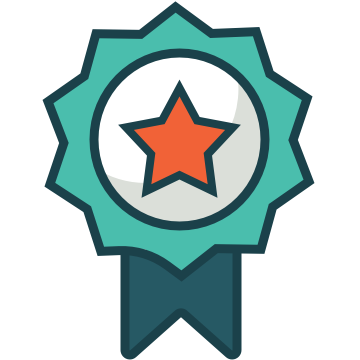 A badge with a checkmark